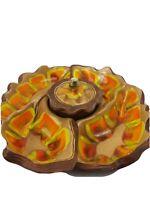 Sequoia California Pottery Apetizer Tray Chip MCM Party Tiki Orange Glazed Vtg