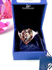 NIB SWAROVSKI SWAN RHODIUM ROSALINE LAVENDER CRYSTAL DOUBLE HEART RING SIZE 6.5