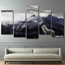 Snow Mountain Plateau Wolf Lonely 5 Pieces canvas Wall Art Picture Home Decor