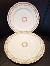 "2 Antique Bawo & Dotter Elite Limoges Pink Roses Green Lauren Swag 8.75"" Plates"