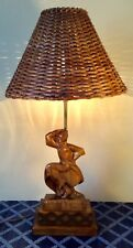 Ca.1950 Hand-Carved Wooden Heifetz Russian Dancer Cubist Table Lamp~Signed~EUC