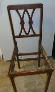 Vintage antique Folding Chairs Padded Wooden Mid Century  Set Of 4