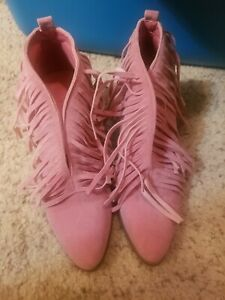 Pink Fringe Womens Booties western boho chic style