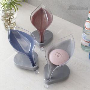 Leaf Shape Soap Dish Holder Suction Cup Base Draining Rack Bathroom Shower Decor