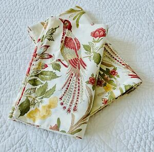 Pottery Barn Pair Bird Floral Cotton Blend Standard Pillow Shams ~ EUC