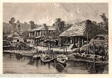 Antique print Ōmura, Nagasaki Japan houses Omura canal  1869 holzstich Japan
