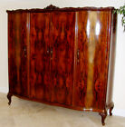 SUPER RARE - Italian Book-matched Walnut, Antique Armoire Cabinet Large 7' Wide