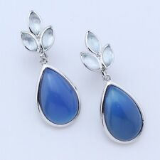Sterling Silver | Marquise Cut Blue Topaz Chalcedony Teardrop | Clip-On Earrings