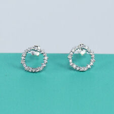 0.40ct Round Diamond Open Circle Geometric Stud Earrings 14k White Gold Finish