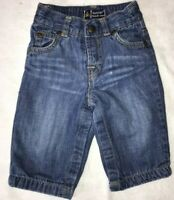 Baby Gap Baby Boy 3-6M Distressed Denim Blue Jeans 100% Cotton Lined Gray Fabric