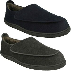 MENS CLARKS HOOK AND LOOP FASTENING WARMLINED COSY WINTER SLIPPERS RELAXED CHARM