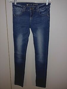 ICON JEANS LADIES SKINNY STRETCH JEANS-DISTRESSED-JR.3-COTTON/POLY/SPAN.-EUC