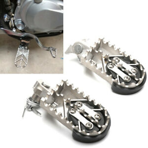 2PCS Motorcycle Bike Off-road Stainless Steel Foot Pegs Forefoot Pedals 8MM L&R
