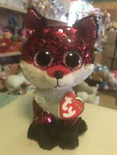 "Ty FLIPPABLES: JEWEL -Shiny Pink/Black/Silver Sequined Fox 6"" Beanie Boo! *RARE*"