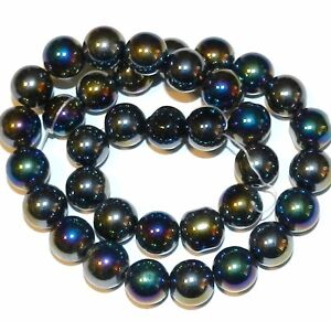 "G2527 Black AB Metallic Sheen 12mm Smooth Round Glass Beads 16"""