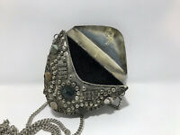 VINTAGE Sajai Natural Agate Stone Silver Tone Metal Crossbody Clutch Purse