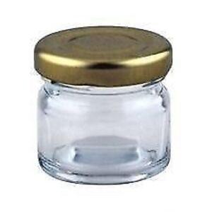 1 small 1oz 28g MINI GLASS JARS GOLD LID Jam WEDDING FAVOURS HAMPERS Sample