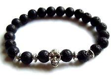 Black Lava Stone Bracelet - Silver Skull Reiki Yoga Mandala Charm Bangle