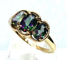 Gorgeous 10 Karat Yellow Gold Mystic Topaz 3 Stone Gemstone Ring.