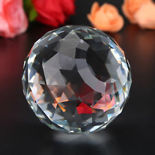 UK K9 Sphere 80mm Faceted Gazing Glass Ball Clear Prisms for Home Hotel
