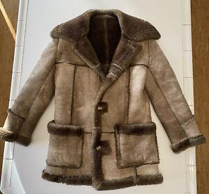 Cosa Nova Genuine Sheepskin Leather Jacket Shearling Fur Suede Vintage 60's 70's