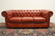 Divano chesterfield chester inglese 3 posti colore arancione / pelle / leather
