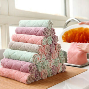 Microfiber dishcloth square kitchen washing cleaning towel dish cloth rags Y_cd