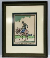 Vintage framed Art Deco French colored print signed by artist J. S. Gree