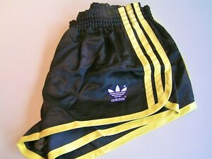 Adidas Sprinter Glanz Shorts Sporthose Vintage Gr. M / 5 schwarz-gelb - rar!