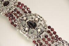 Schweres 6 reihiges Granat Armband Silber 835 mit Perlen TOP
