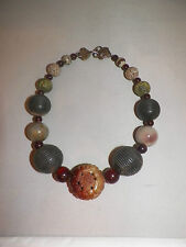 Vintage Stephen Dweck carved & smooth jade round beaded choker 18 inch necklace