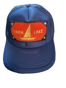 Snow Lake,  Washington Vintage Snapback Trucker Cap Blue - Patch  SNOQUALMIE REG