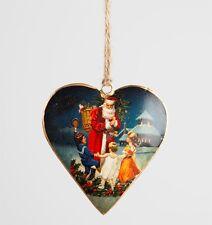 Large Retro Santa & Kids Vintage Heart Tree Decoration Christmas Ornament