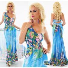 Bodenlanges One-Shoulder Abendkleid Blumen Maxikleid Blau #AK1351