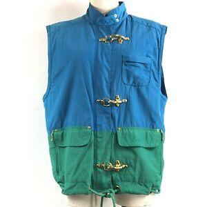 Liz Claiborne Lizsport Sleeveless Vest Blue/Green Sz M With Interesting Details
