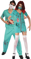 Couples Mens AND Ladies Zombie Surgeons Halloween Fancy Dress Costumes Outfit