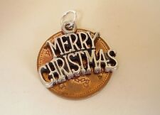 BEAUTIFUL ' MERRY CHRISTMAS ' STERLING SILVER CHARM