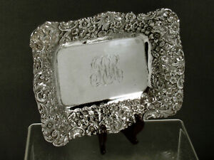 Jacobi & Jenkins Sterling Tray                c1900 HAND DECORATED