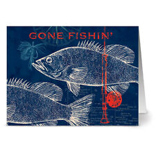24 Note Cards - Pier 45 Gone Fishin' - Red Envs