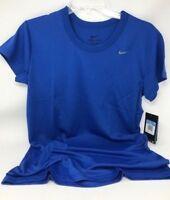 Nike Women's Performance Short Sleeve Dri-Fit Shirt Royal Blue 100% Polyester