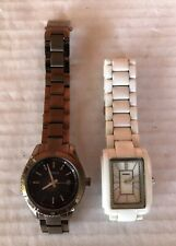 Lot (2) Ladies Fossil Quartz Watches CE-1026 White & ES-3029 Brown NEED BATTERY