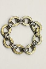 KONSTANTINO 18K YELLOW GOLD AND STERLING SILVER OVAL LINK SCROLL BRACELET
