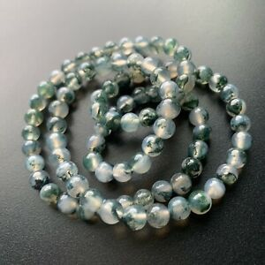 Natural Water Grass Agate Beads Bracelet Around 6mm from my private collection