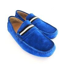 S-1633102 New Bally Wabler 465 Sapphire Suede Driver Shoe Sz US 8.5D Marked 7.5E