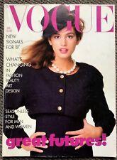 Rare Retro Vintage UK VOGUE Magazine from January 1987 Cindy Crawford Supermodel