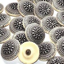 Mercerie Lot de 2 gros boutons vintages originaux écru et noir 32mm button
