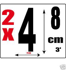 lot 2 Chiffres [4] Sticker autocollant noir hauteur 8cm Lettre en vinyle