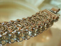"Lacy Dainty 1"" Wide Silver Tone Ornate Vintage 70's Bracelet Pretty  142n7"