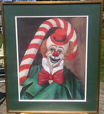 "Red Skelton ""Candy Cane Clown"" Lithograph Signed-Framed-Matted-From 1972"