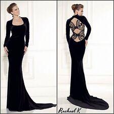 Women's Plus Size Long Sleeve Mermaid Black Velvet Lace Keyhole Evening Dress